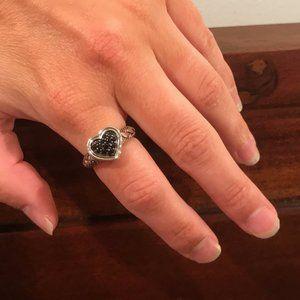 John Hardy Silver Lava Heart Black Sapphire Ring
